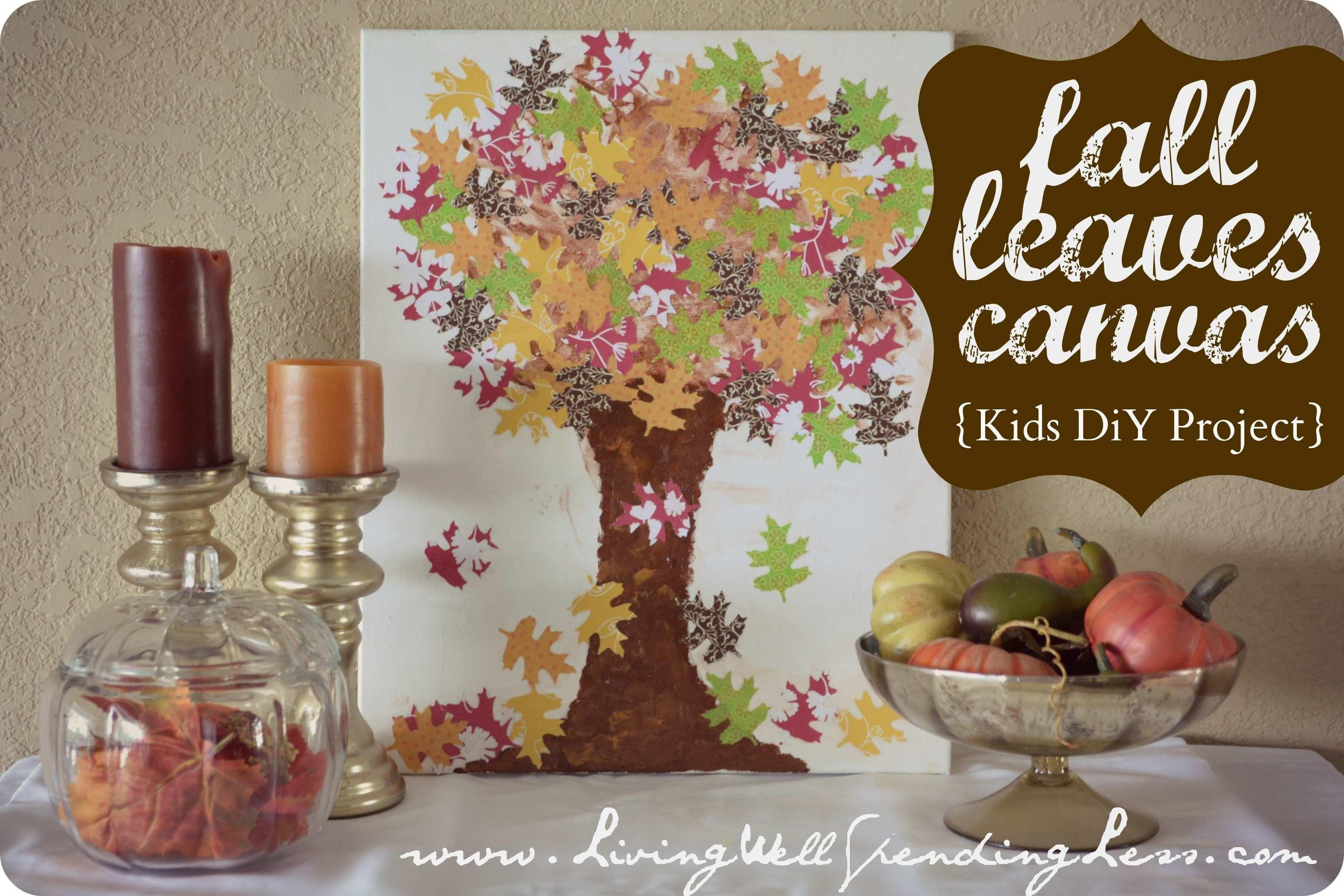 Fall Leaves Canvas Art Easy Diy Kids Autumn Project