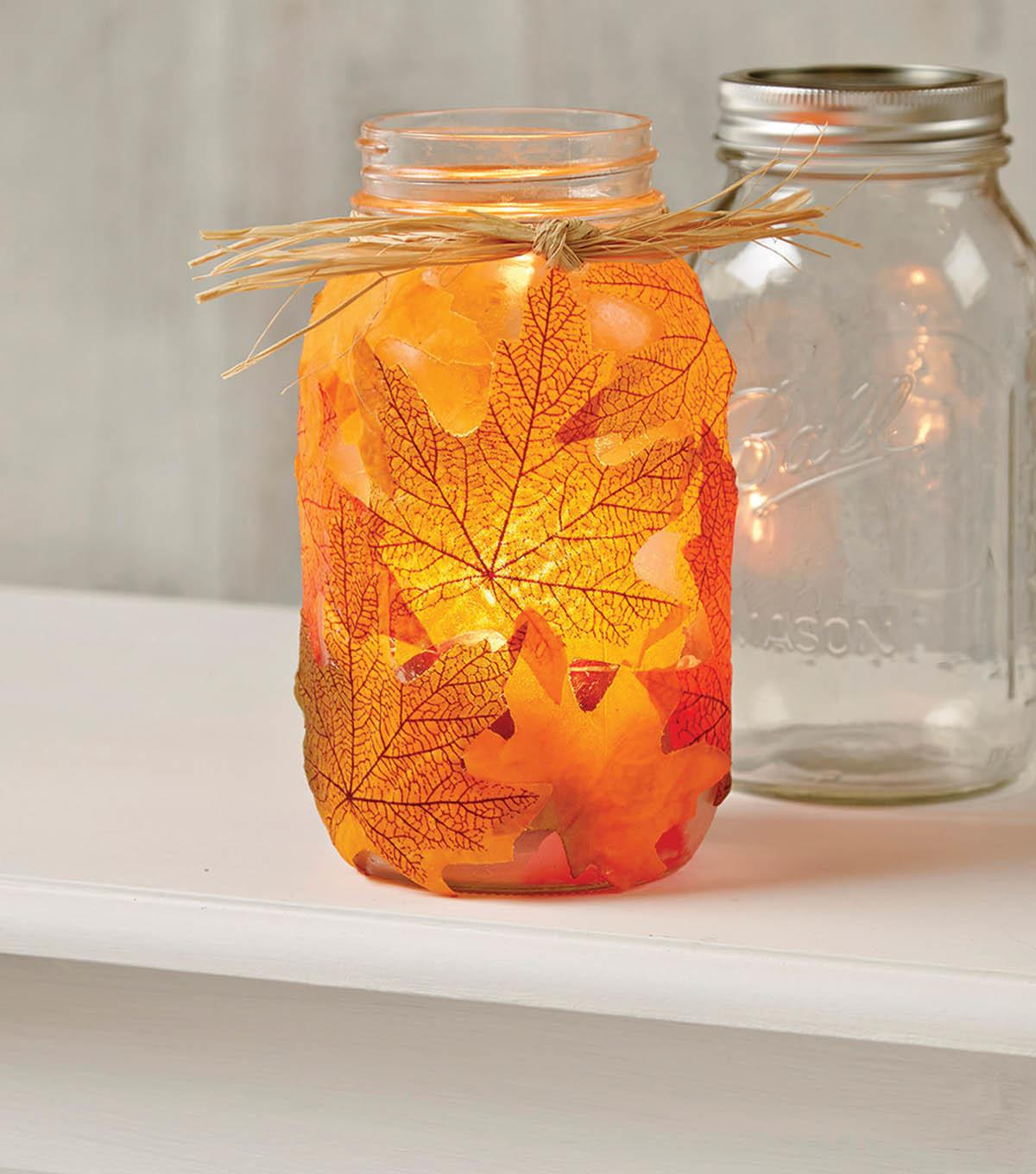 Fall Leaves Jar Joann Ann