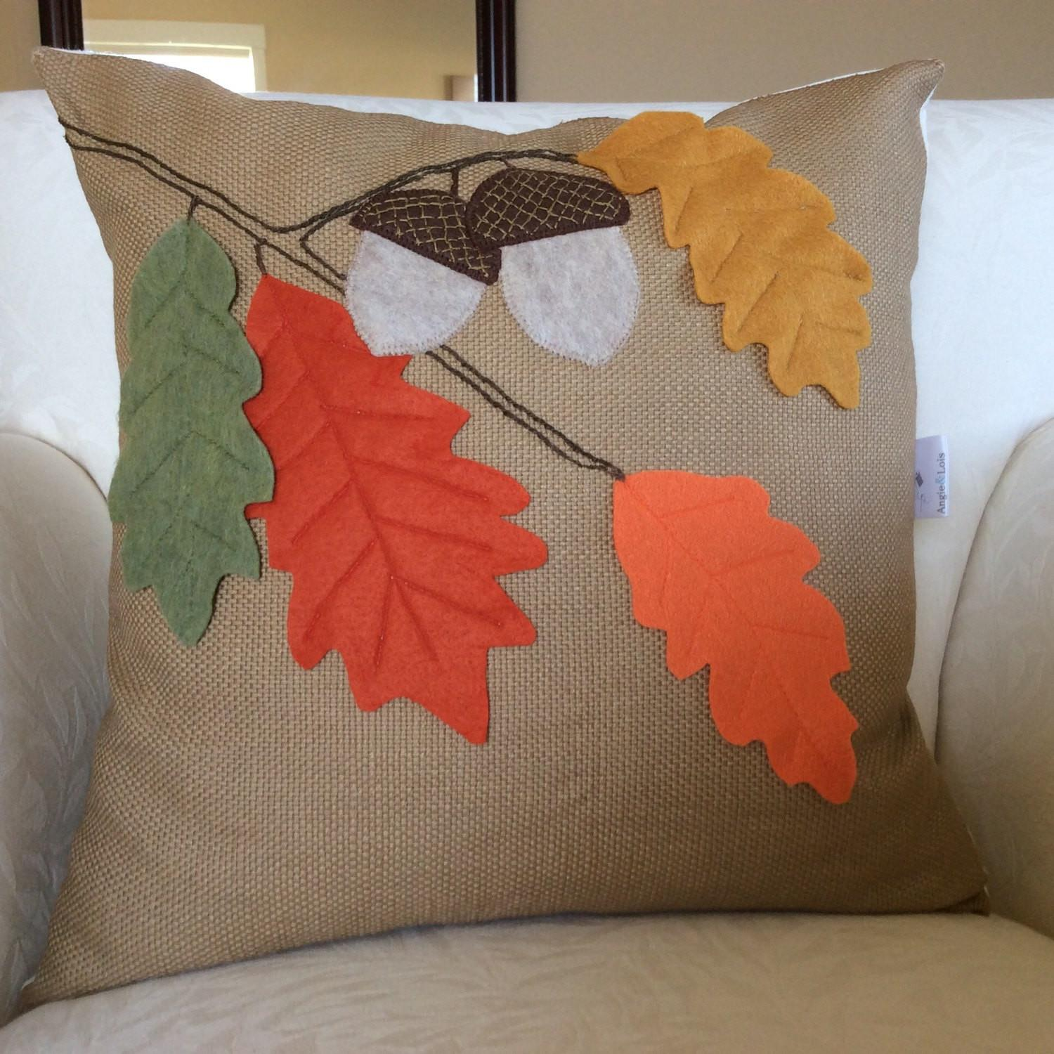 Fall Leaves Pillow Acorn Thanksgiving Decor