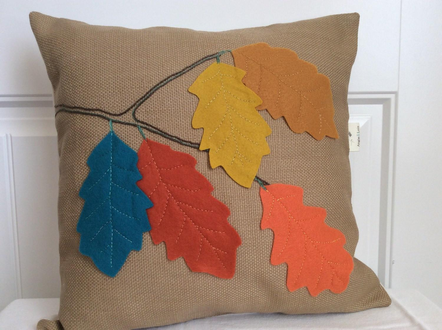 Fall Leaves Pillow Applique Toss Thanksgiving Decor