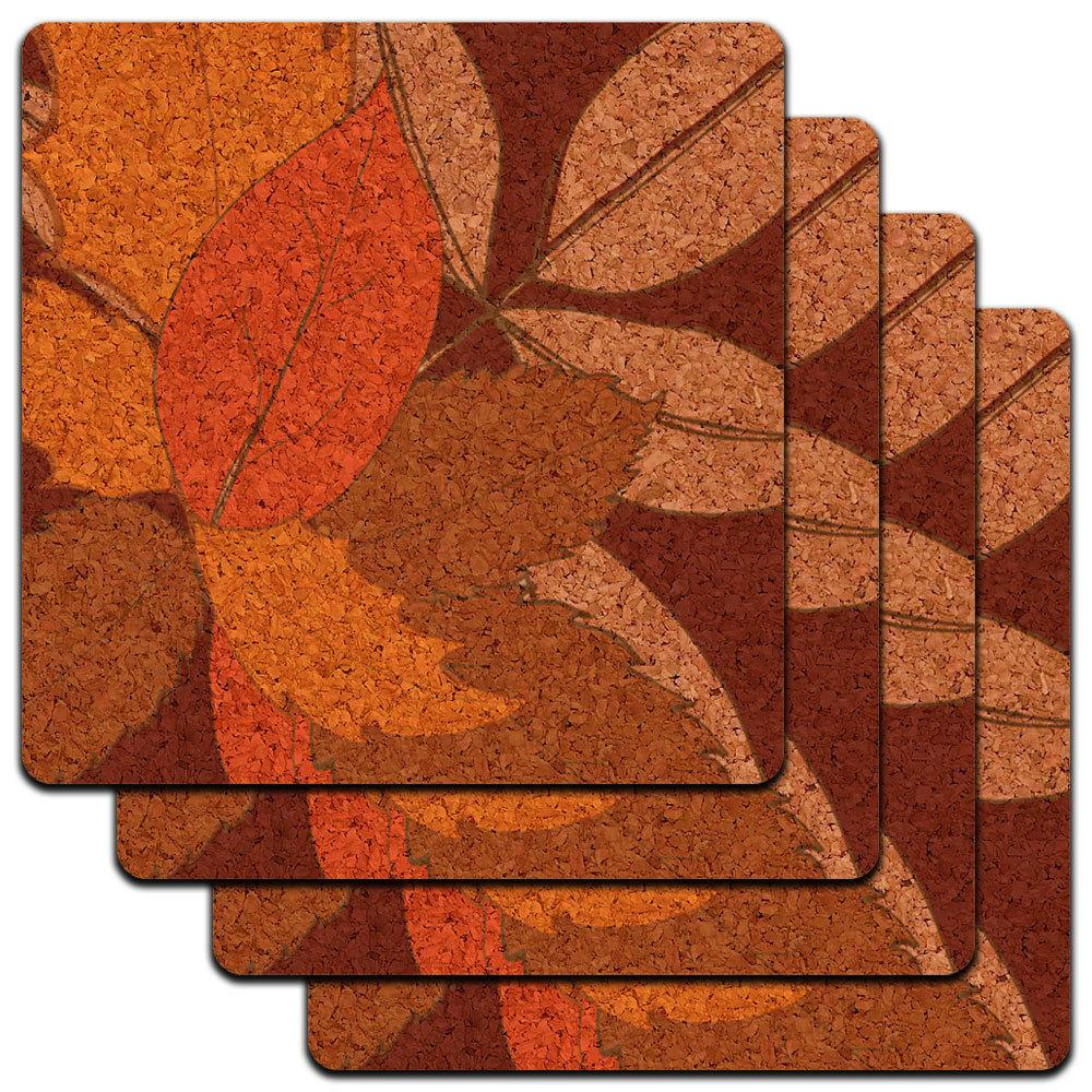 Fall Leaves Thanksgiving Harvest Low Profile Cork Coaster