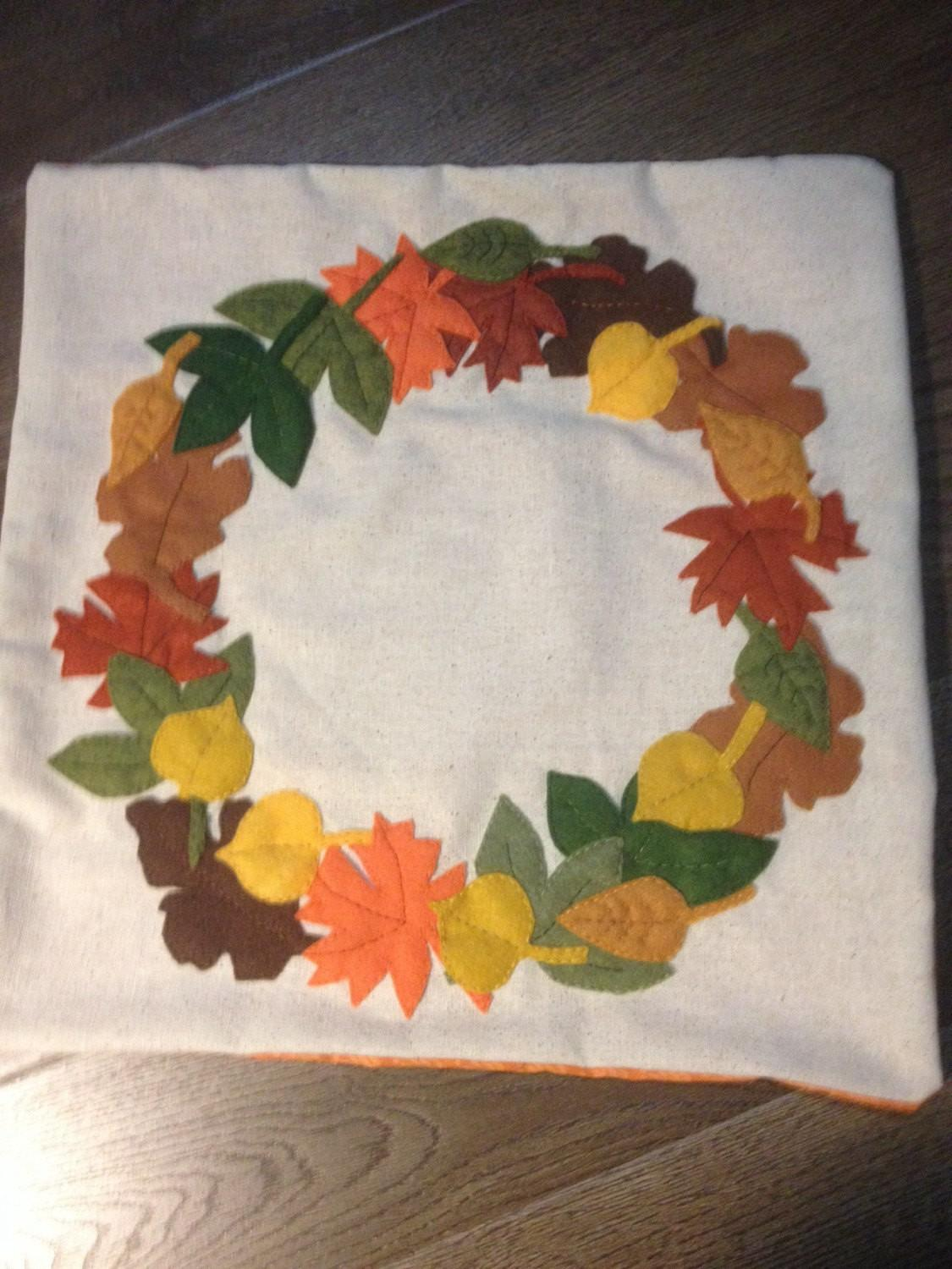 Fall Leaves Wreath Leaf Felt Applique Pillow Cover