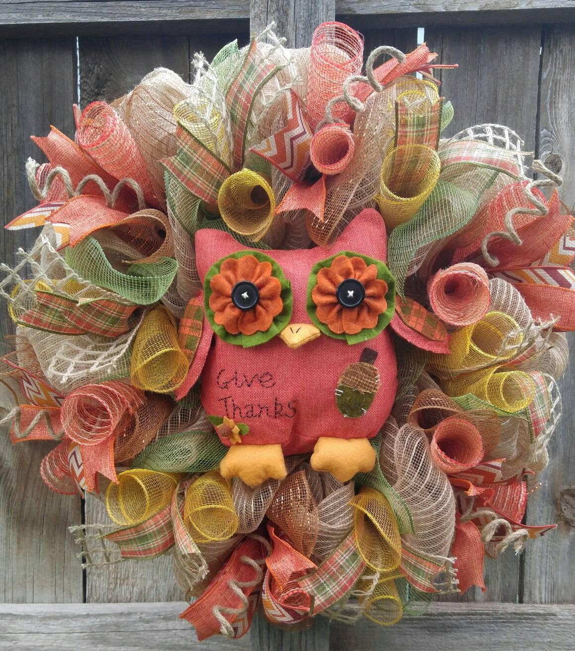 Fall Mesh Wreath Owl Give Thanks Thanksgiving