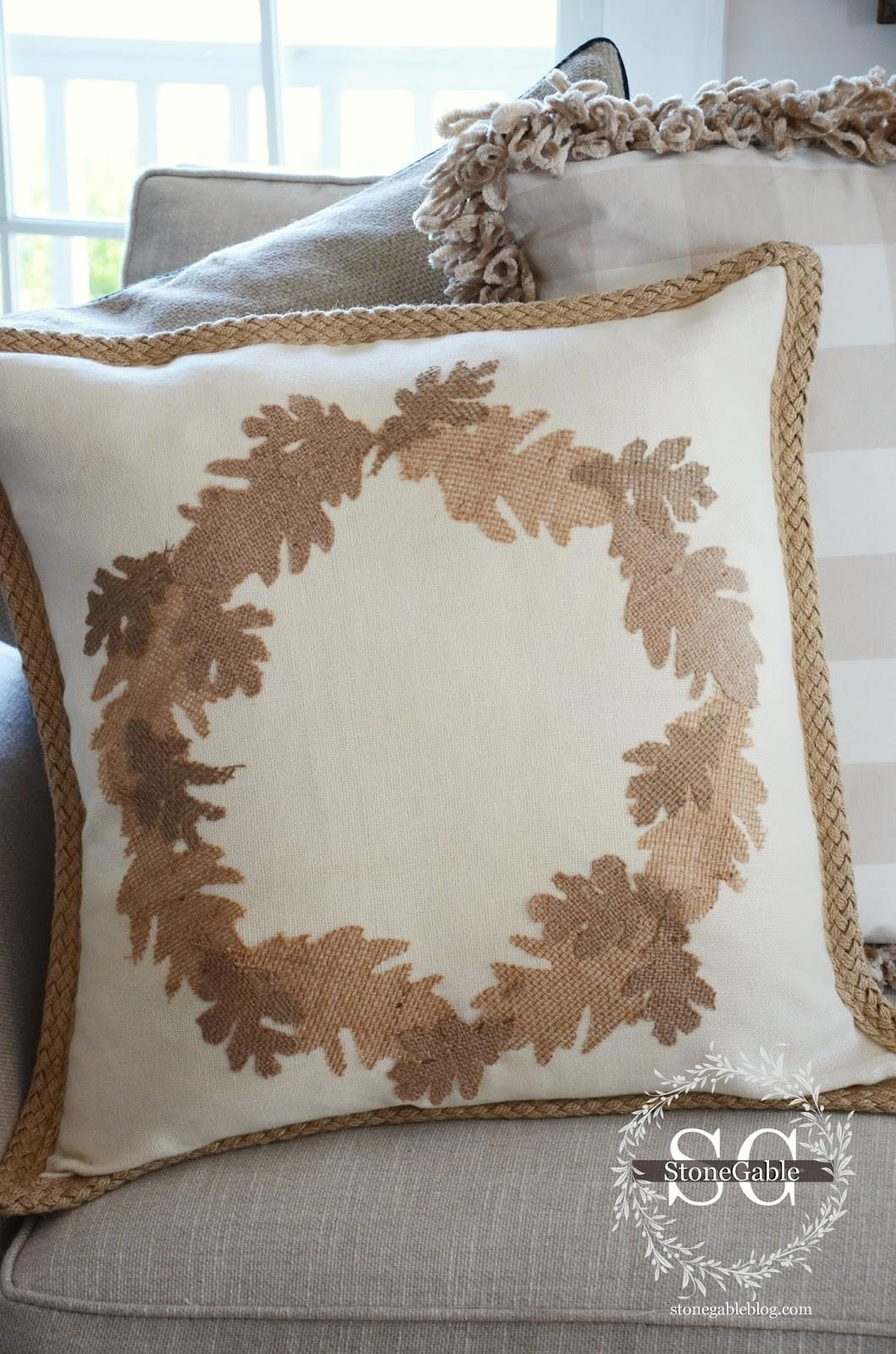 Fall Sew Burlap Leaf Pillow Diy Stonegable
