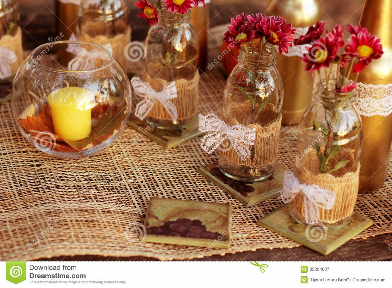 Fall Table Decorations Nature Stock