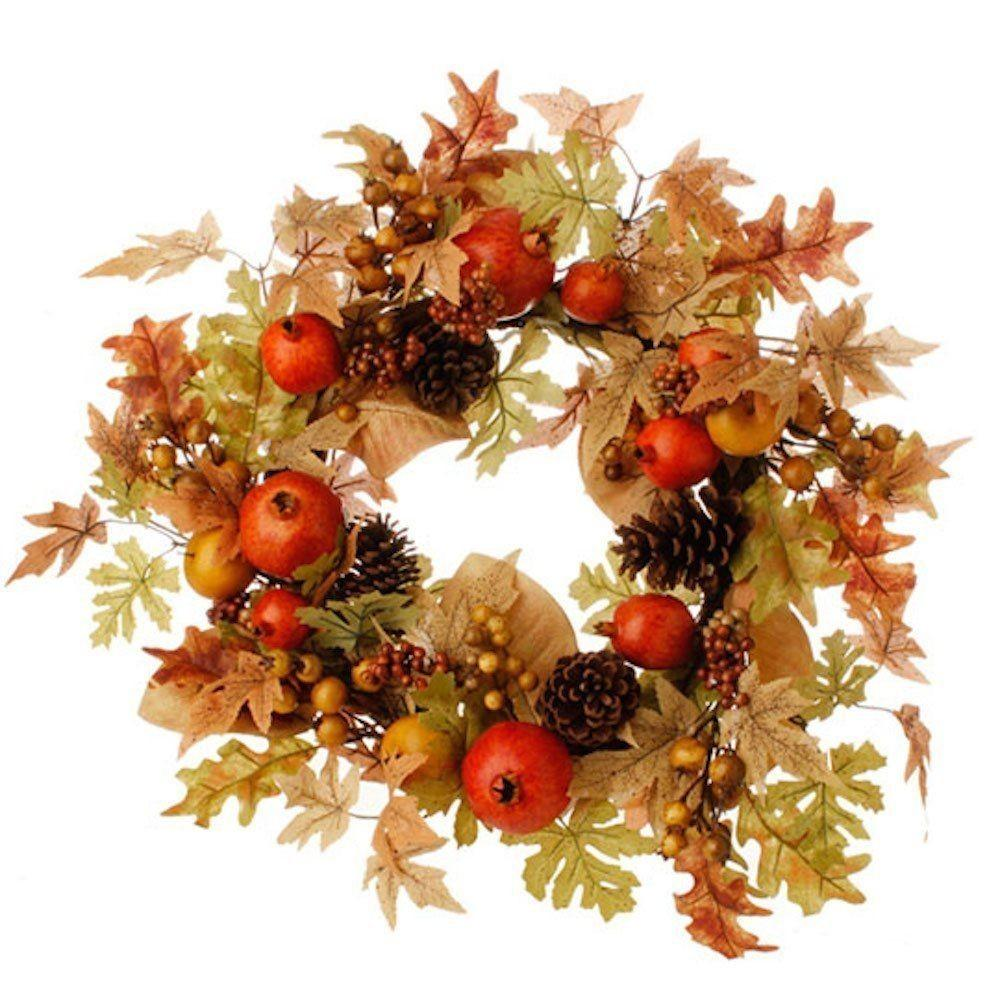 Fall Thanksgiving Pomegranate Fruit Berries Pine Cones