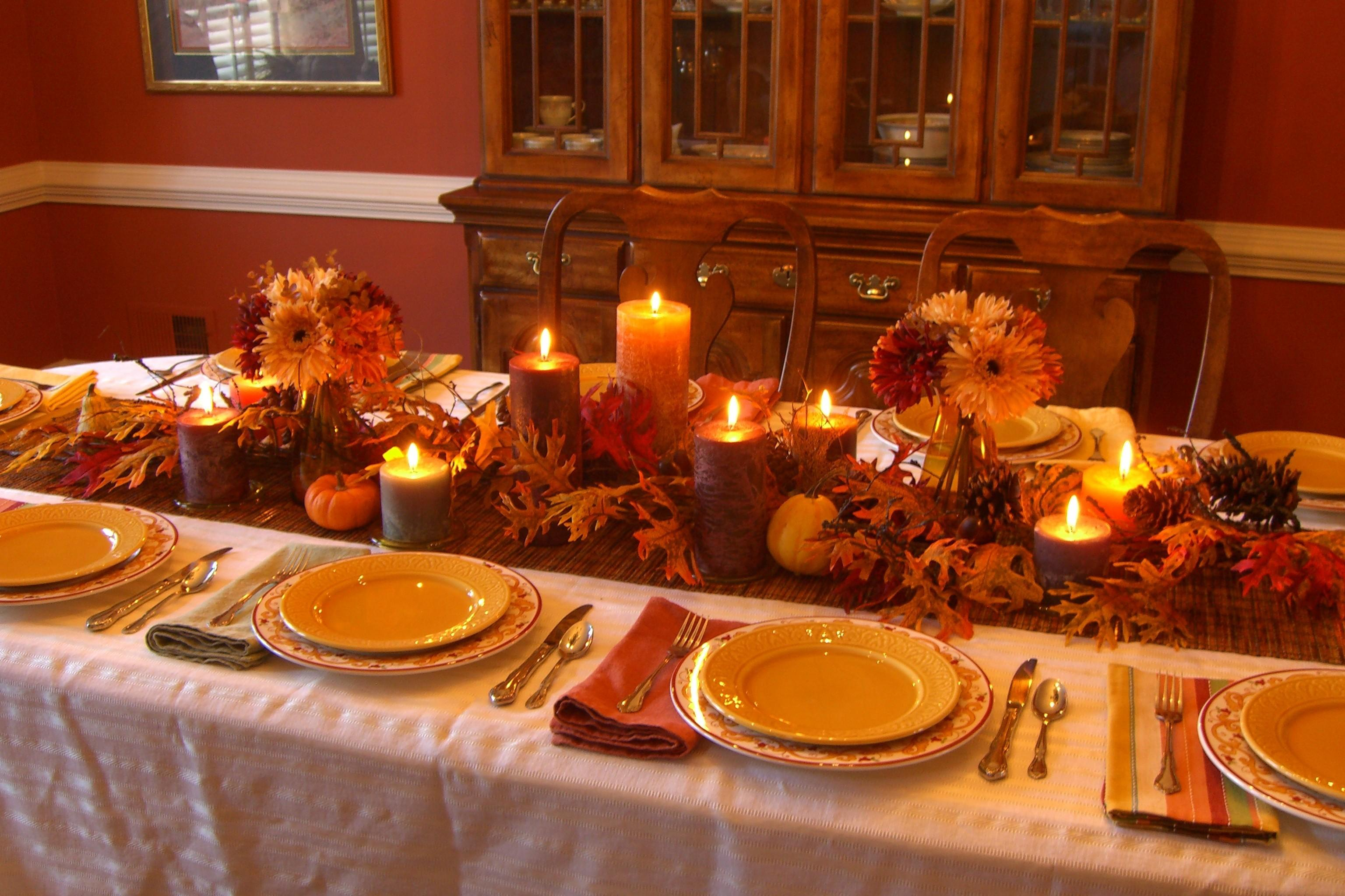 Fall Themed Decorating Table Thanksgiving Large