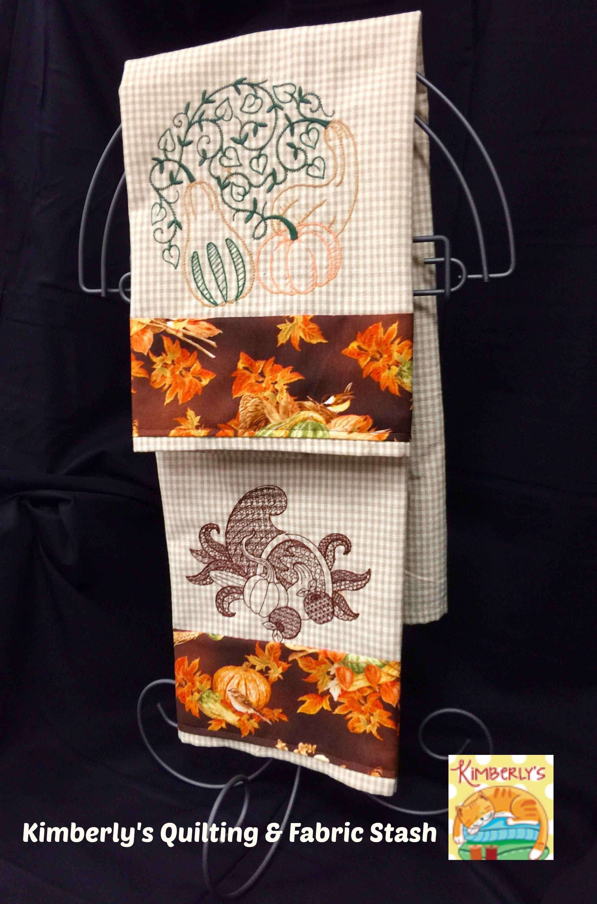 Fall Towels Hostess Gift Machine Embroidery