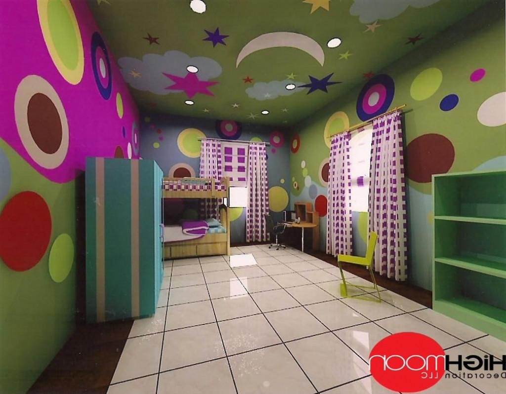 False Ceiling Design Children Bedroom Lighting