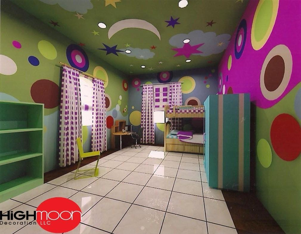 False Ceiling Design Kids Room Suspended Clouds