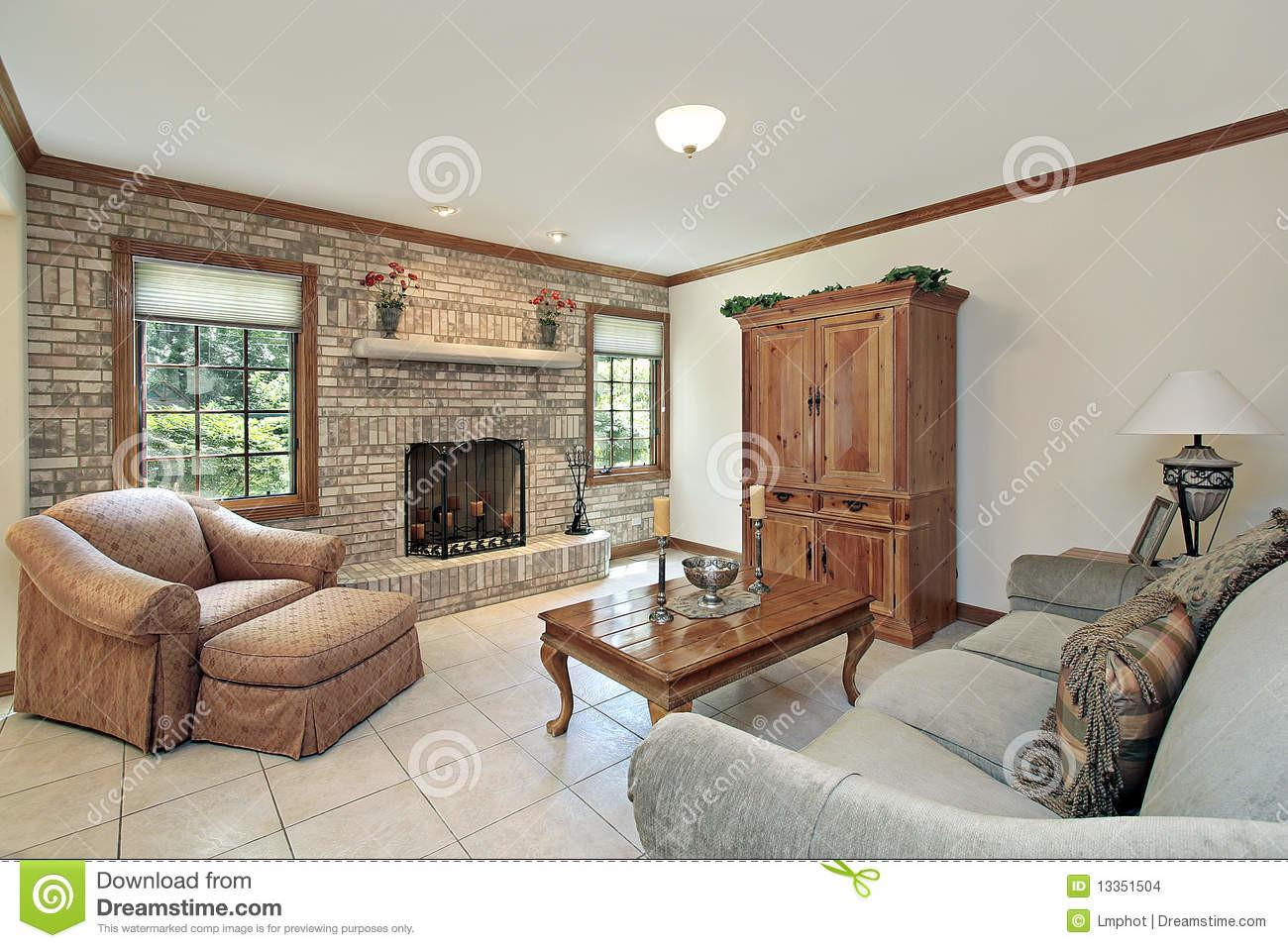 Family Room Stone Fireplace Stock