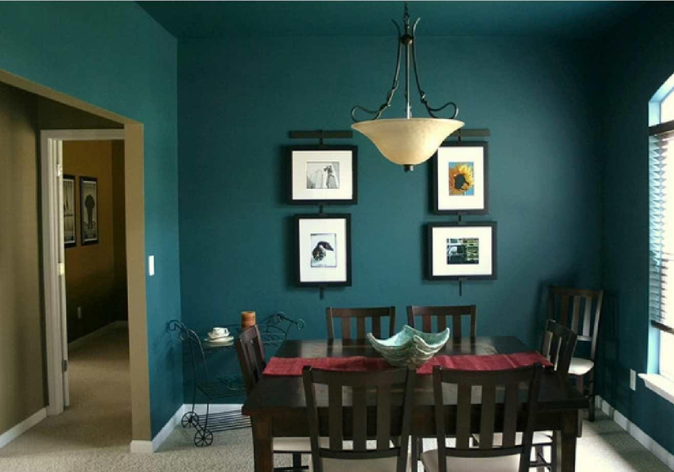 Fantastic Dark Green Color Dining Room Decobizz