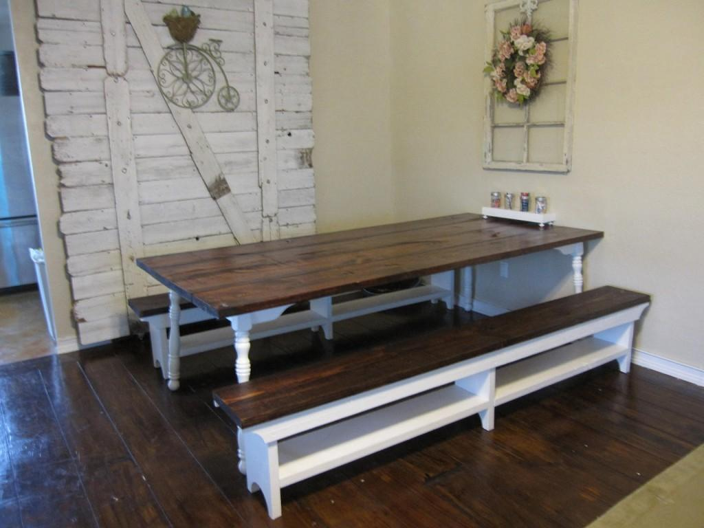Farm Style Dining Room Table Benches Storage Bench
