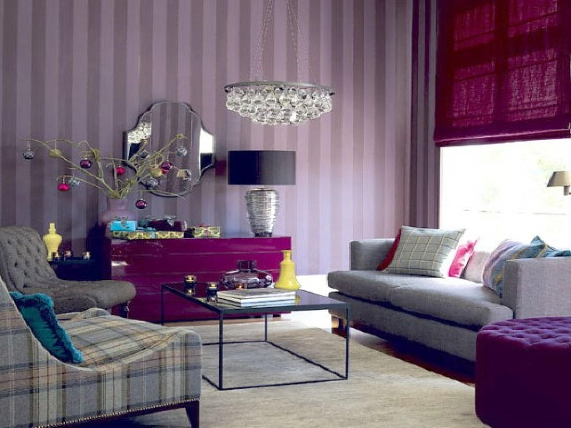 Fascinating Purple Decorations Living Room Design