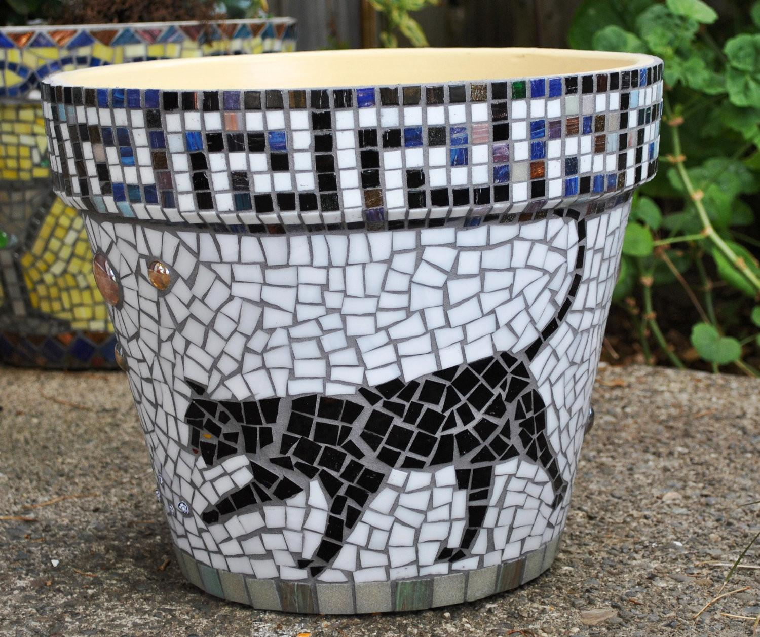 Fascinating Round Black White Cat Mosaic Plant