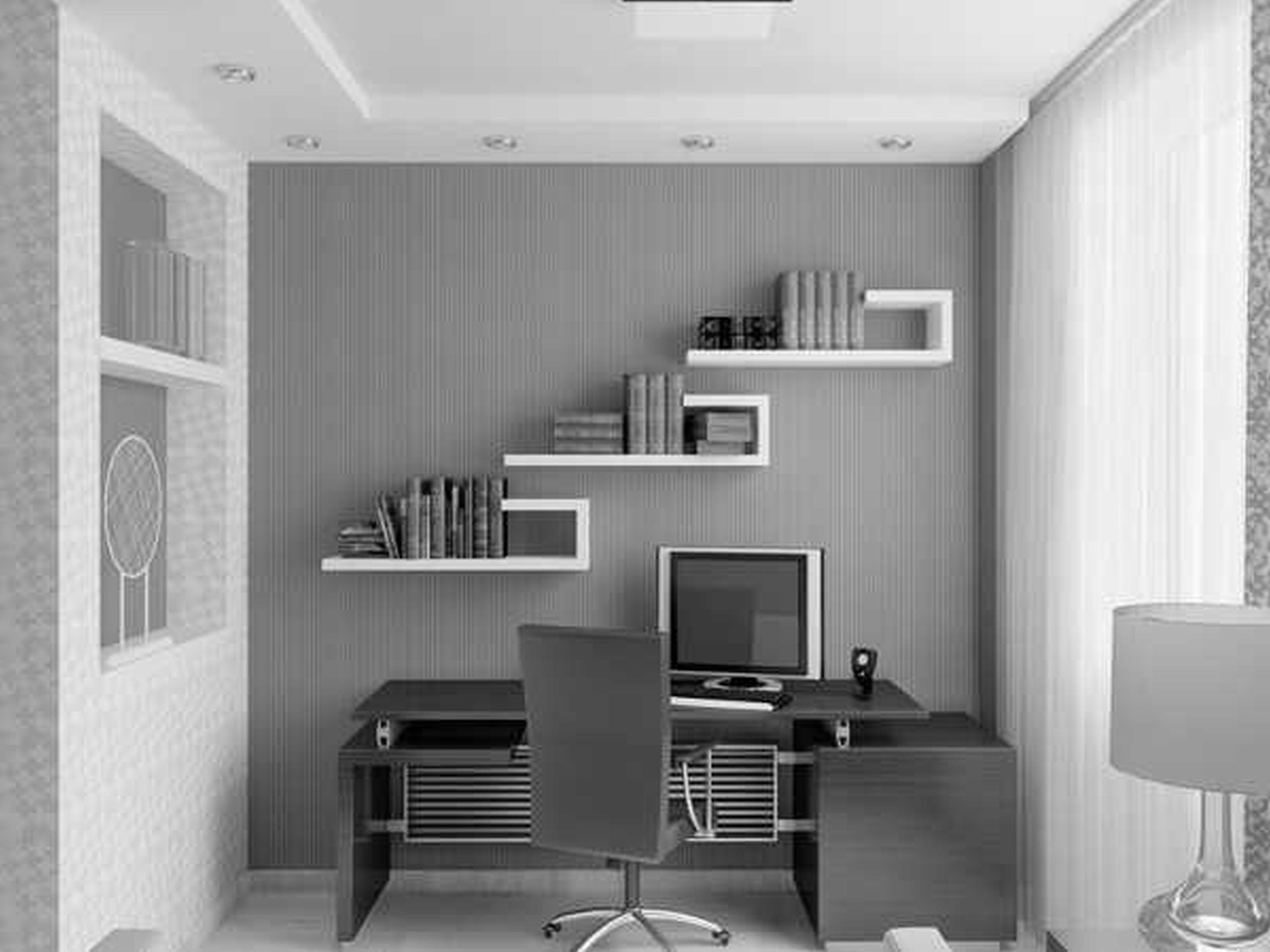 Fascinating White Grey Themes Small Home Office Ideas