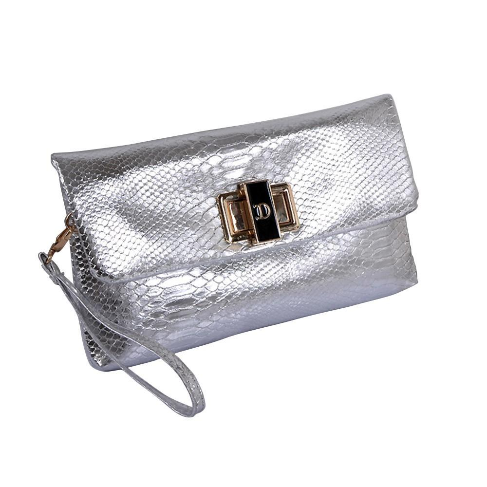Fashion Croco Pattern Envelope Clutch Cross Body Bag