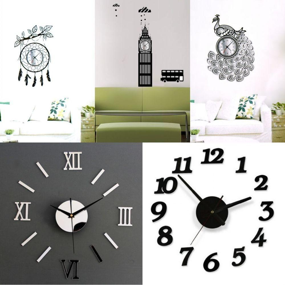Fashion Modern Frameless Wall Clock Watches Sticker