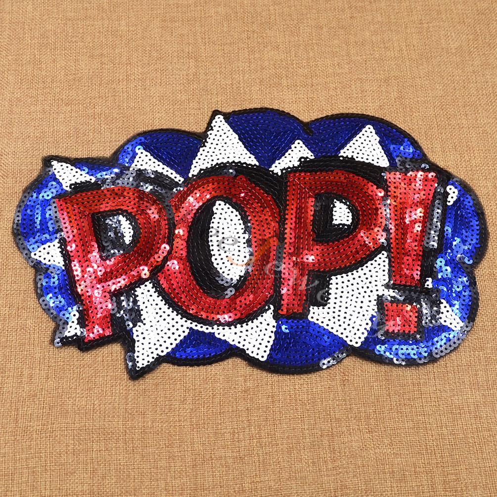 Fashion Patch Letter Sequins Embroidered Iron Sew