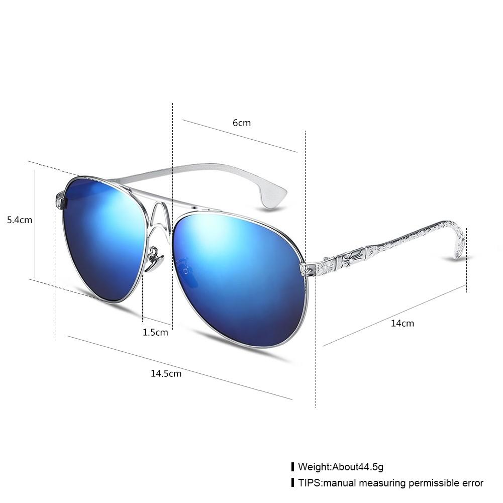 Fashion Sunglasses Men Trendy Blue Lens Metal Frame Uv400