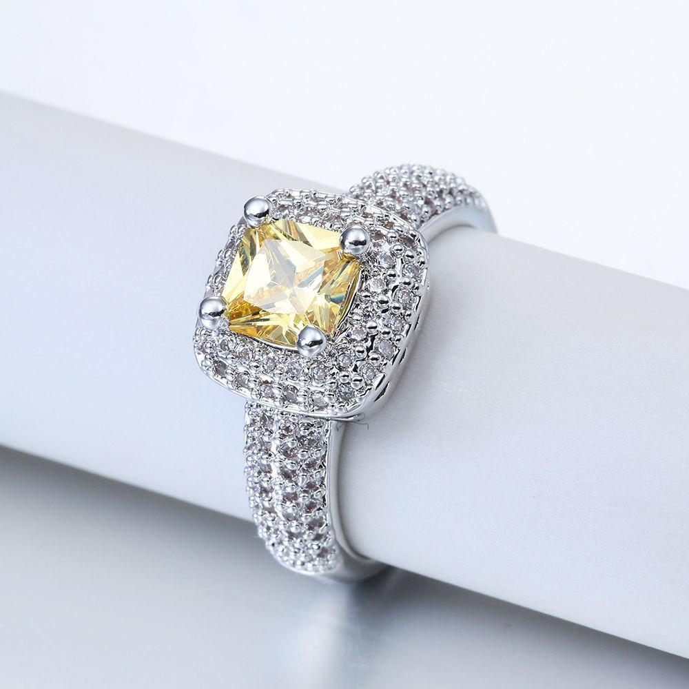 Fashion White Gold Filled Yellow Stone Ring Women Wedding
