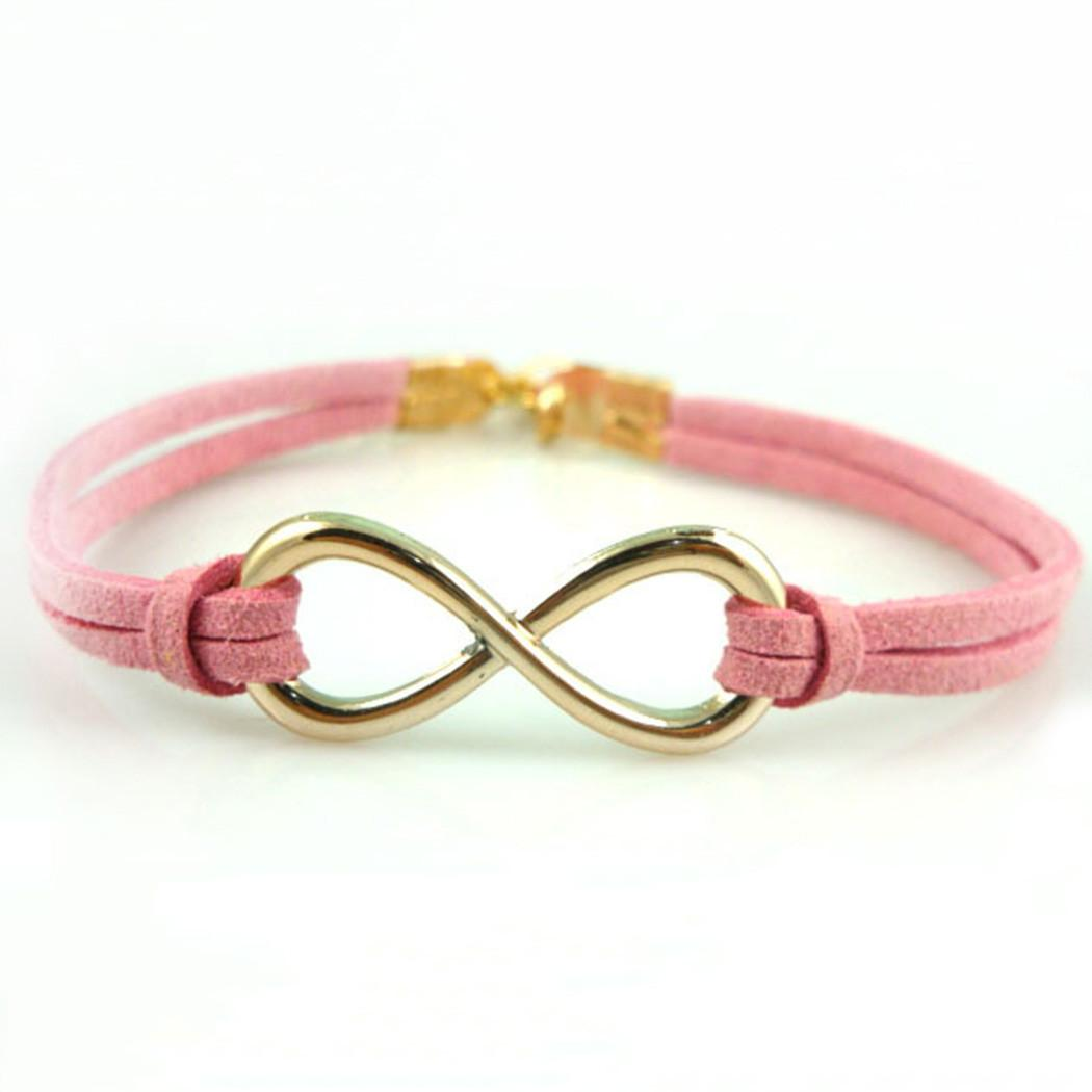 Fashion Women Charm Diy Infinity Beads Leather Cord