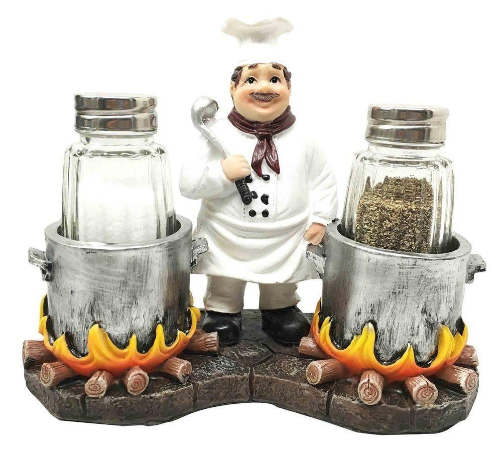 Fat Chef Cooking Soup Cauldron Figural Glass Salt