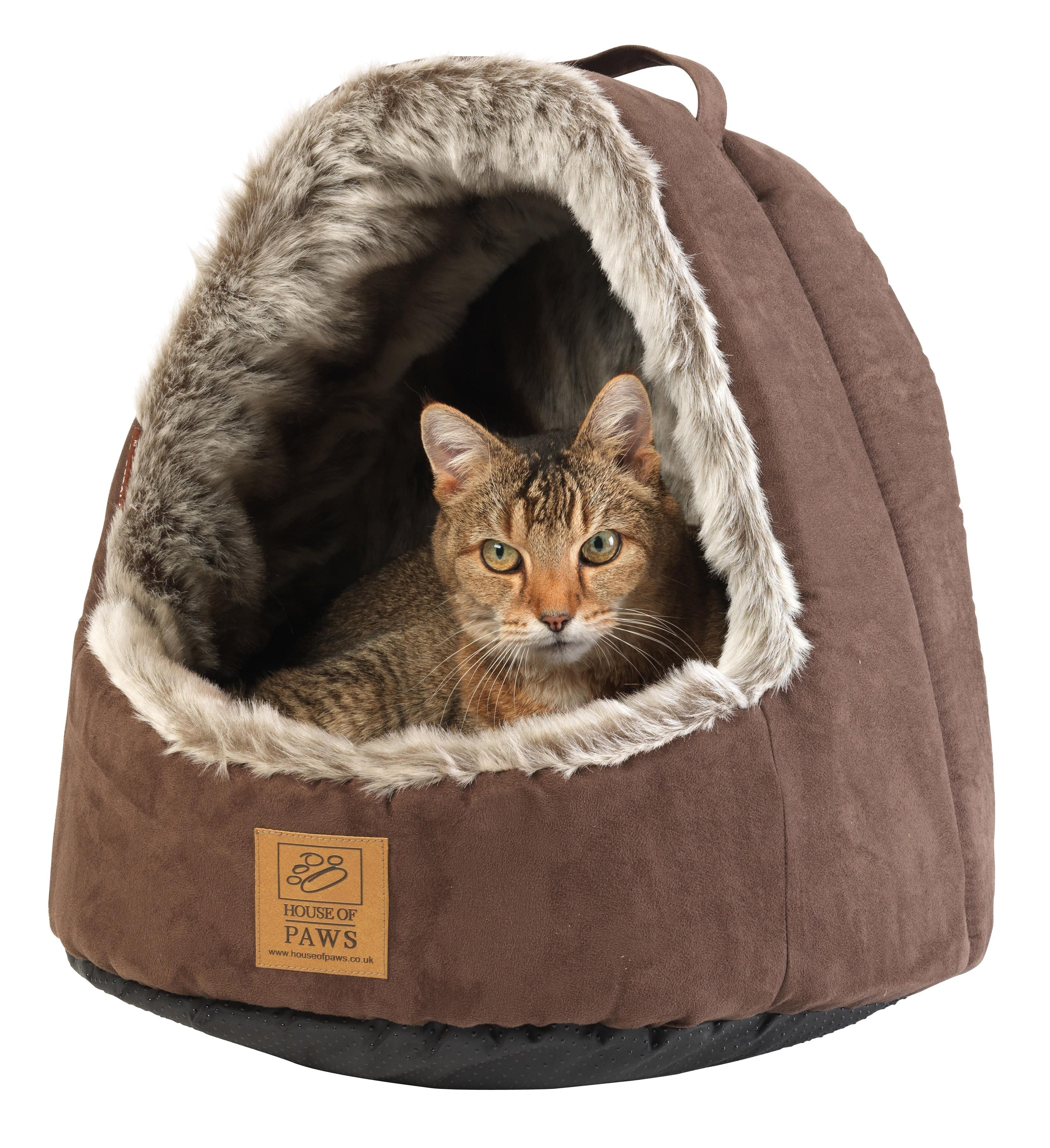 Faux Arctic Fox Hooded Cat Bed Beds