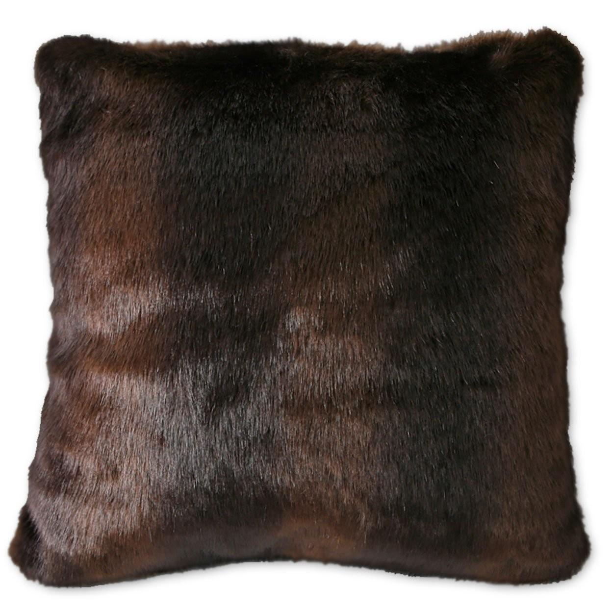 Faux Fur Brown Bear 18in Accent Pillow