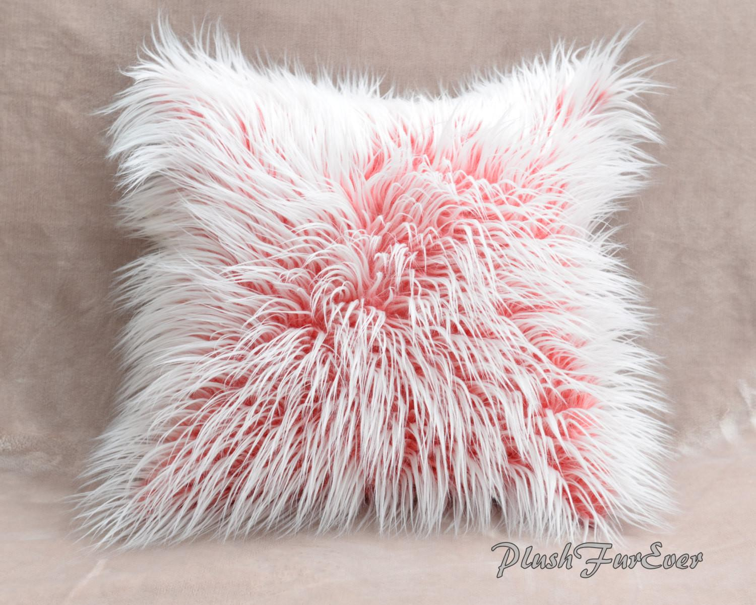 Faux Fur Home Decor Pillows Inserts Included Red