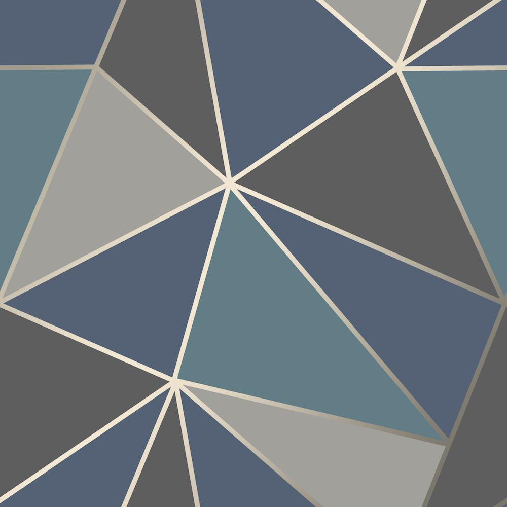 Fd Fine Decor Apex Geo Aqua Navy Geometric Design