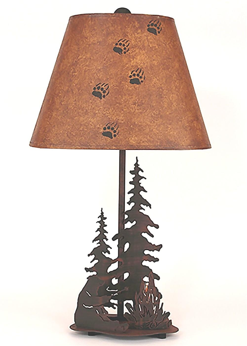 Feather Trees Bear Campfire Table Lamp