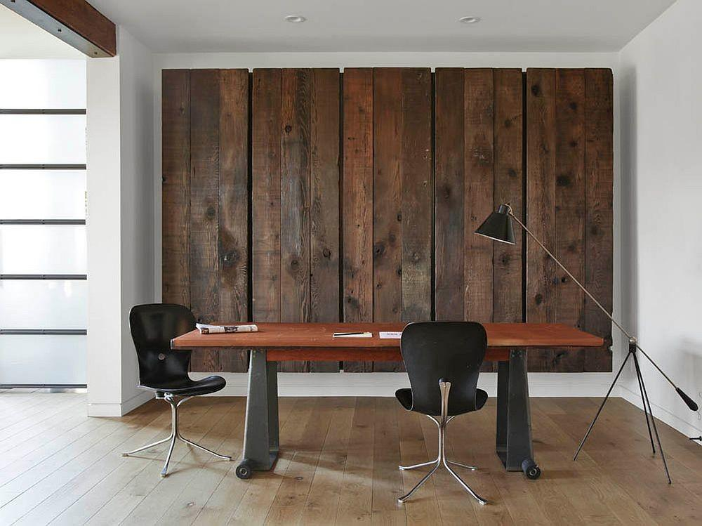 Feature Wall Home Office Reclaimed Barn Wood