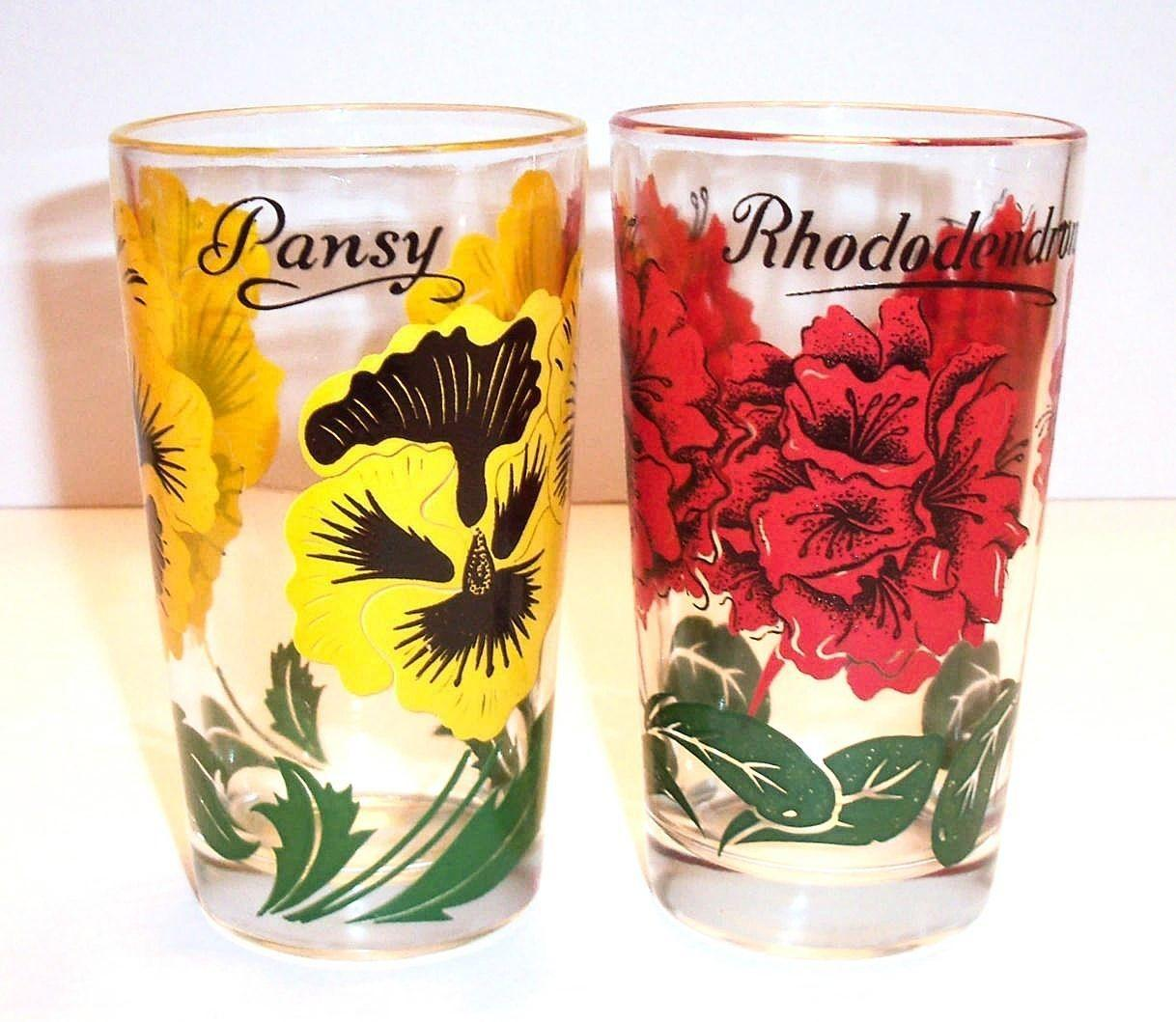 Federal Glass Individual Floral Design Drinking