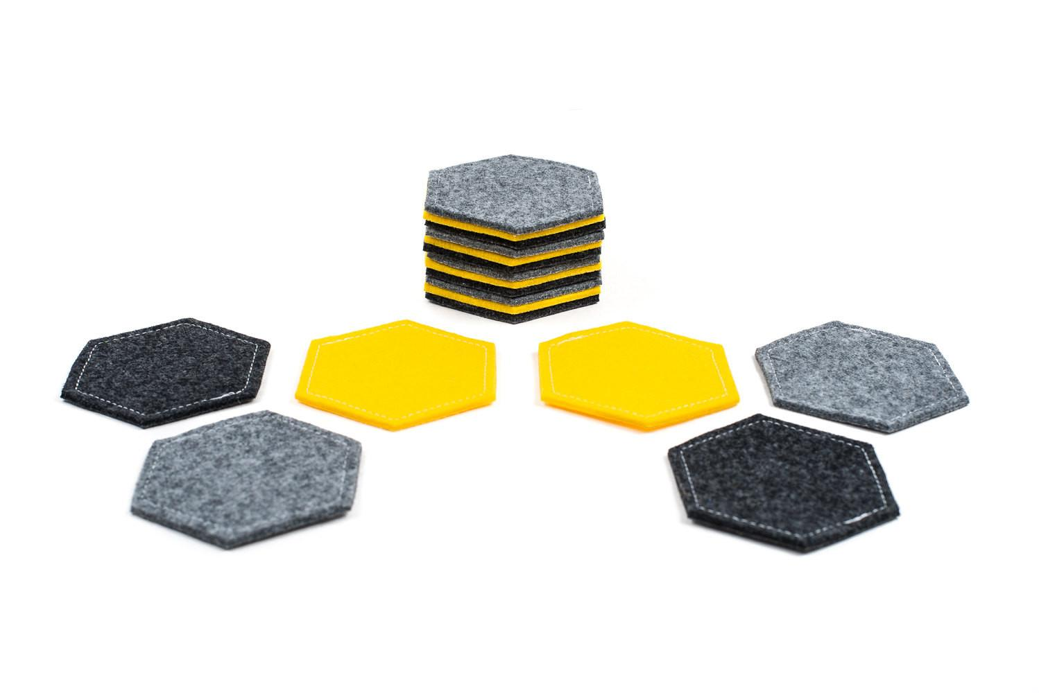 Felt Coasters Hexagon Fabric Geometric