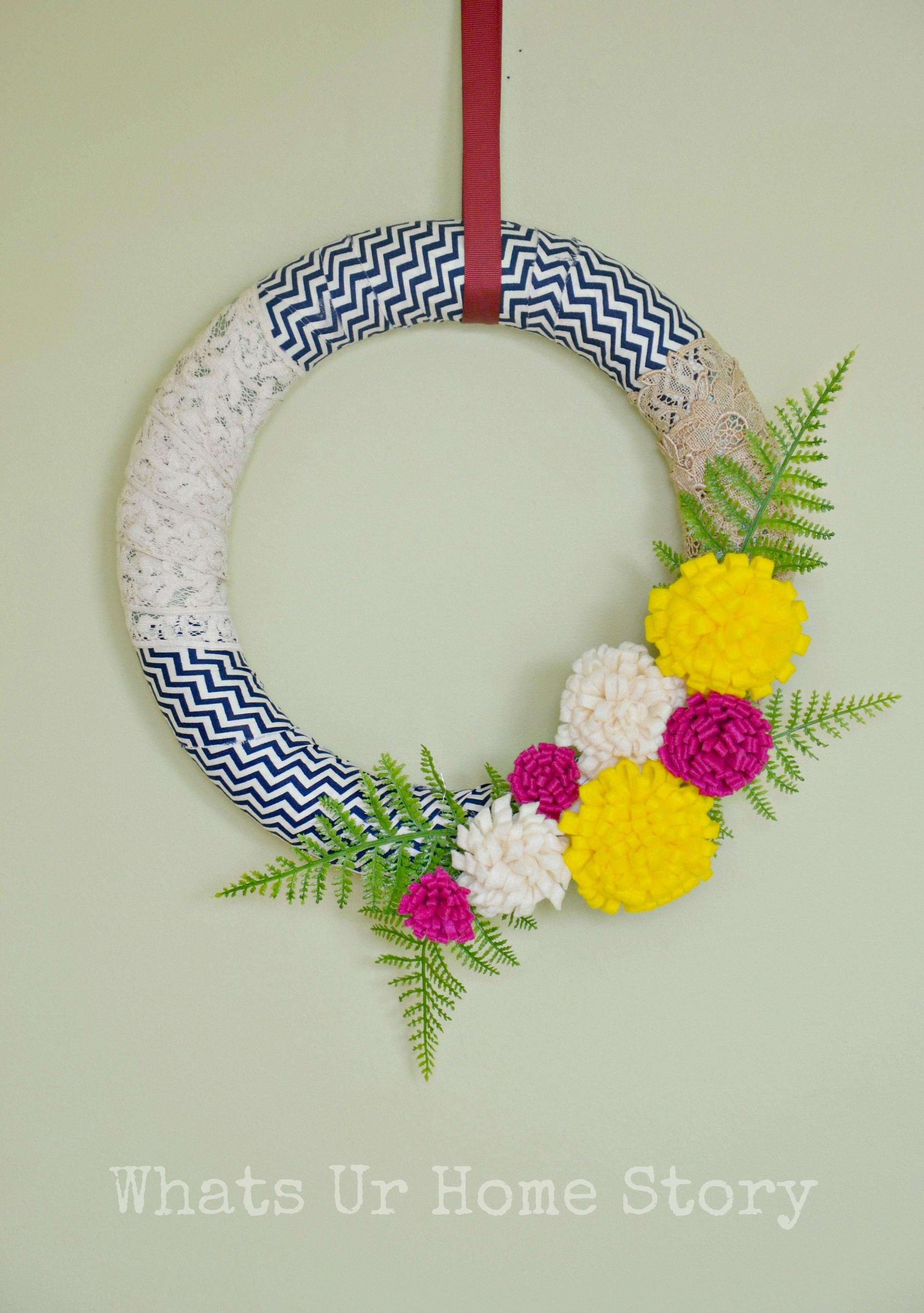 Felt Flowers Fabric Scraps Spring Wreath Whats Home
