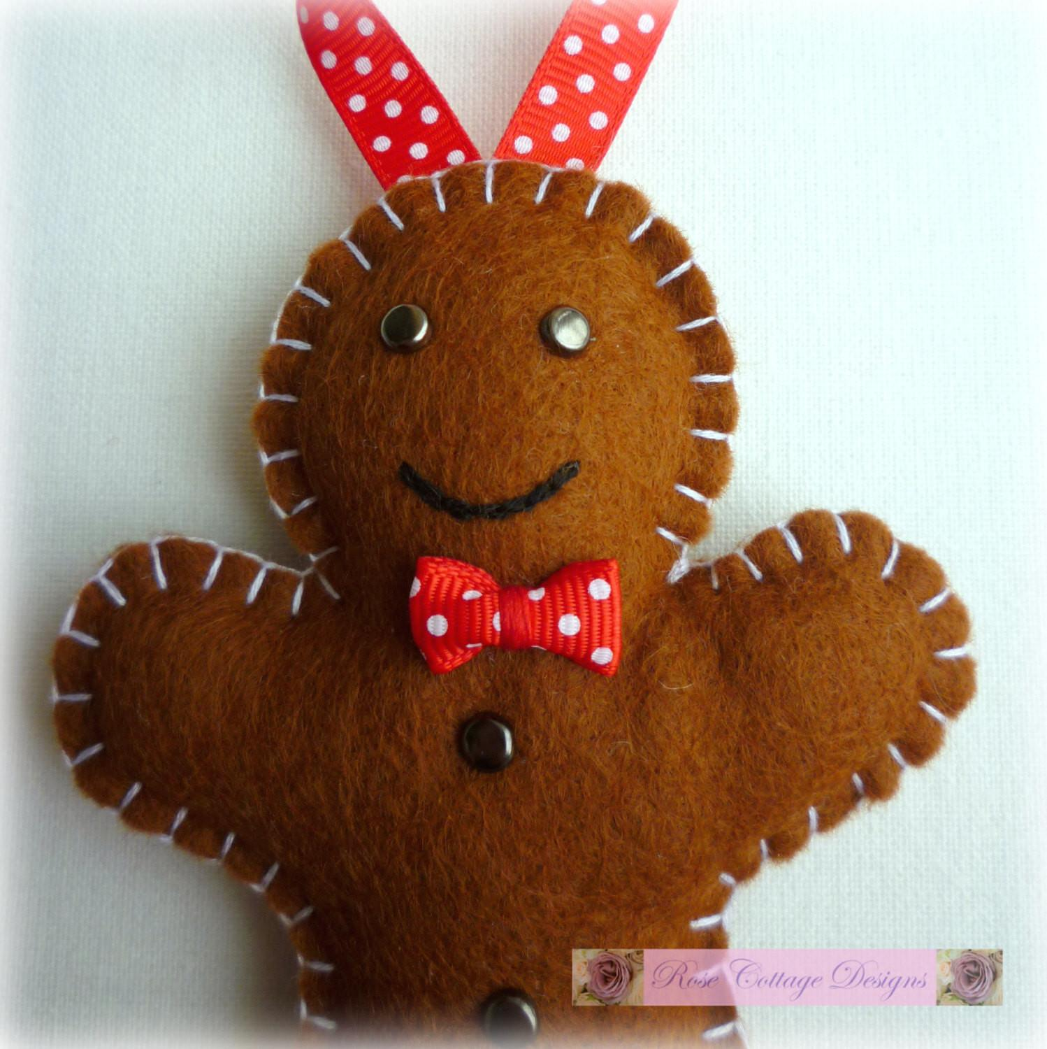 Felt Gingerbread Man Handmade Ornament