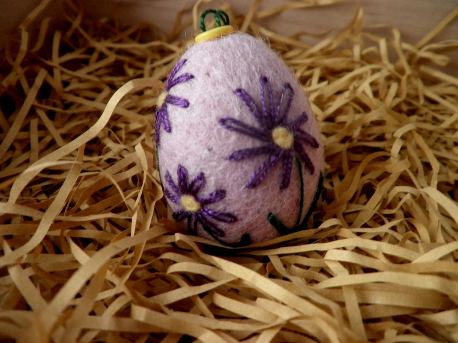 Felted Embroidered Easter Egg Artisan Embroidery