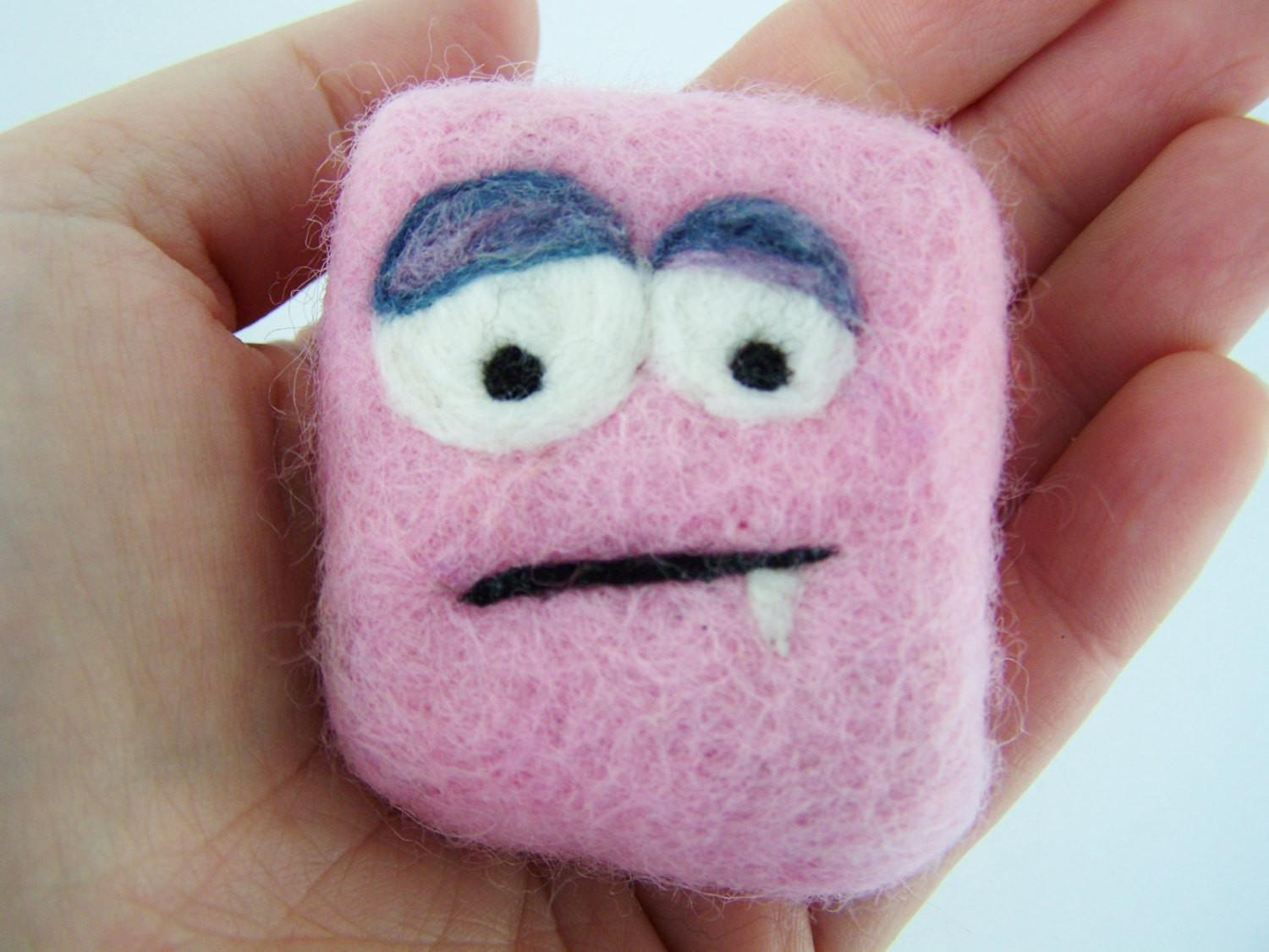 Felted Soap Mini Monster Pretty Pink Sapling Naturals