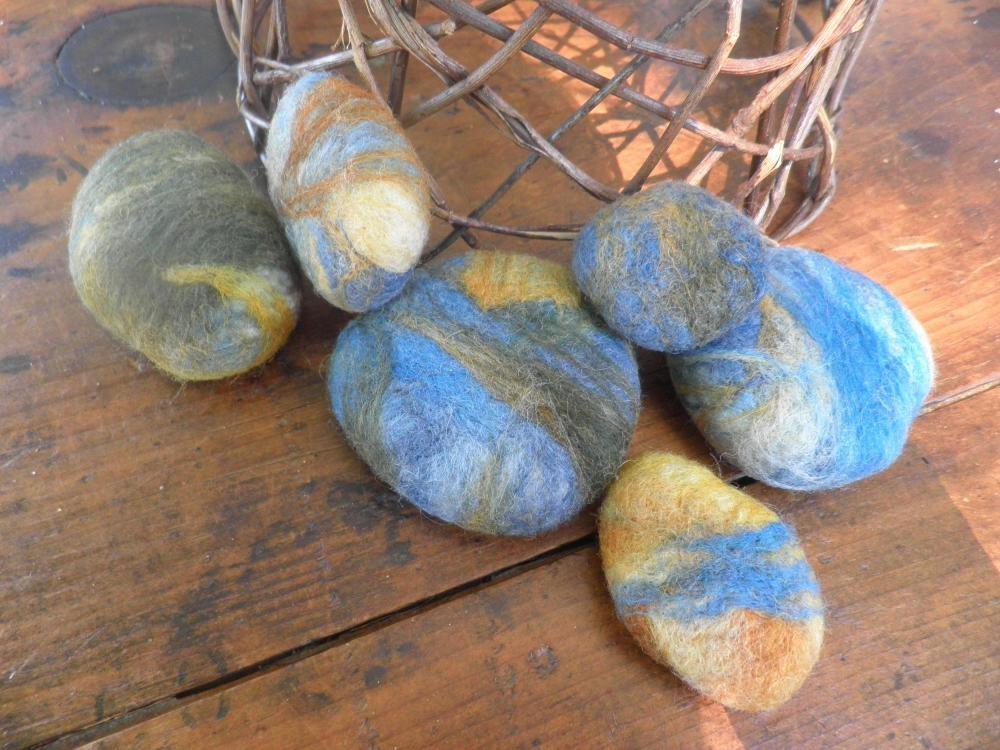 Felted Wool Rocks Novelty River Collectible