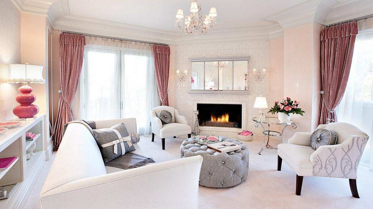 Feminine Living Rooms Pink Grey Pattern