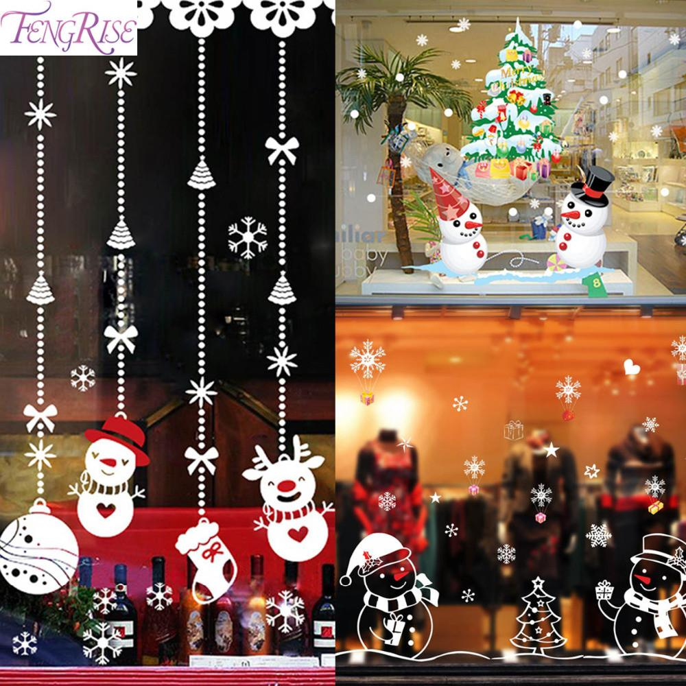 Fengrise Santa Claus Christmas Wall Sticker New Year 2018