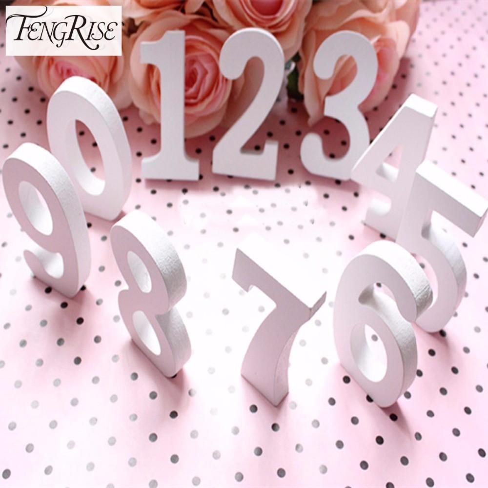Fengrise Wooden Number Letters White Wood Alphabet Wedding