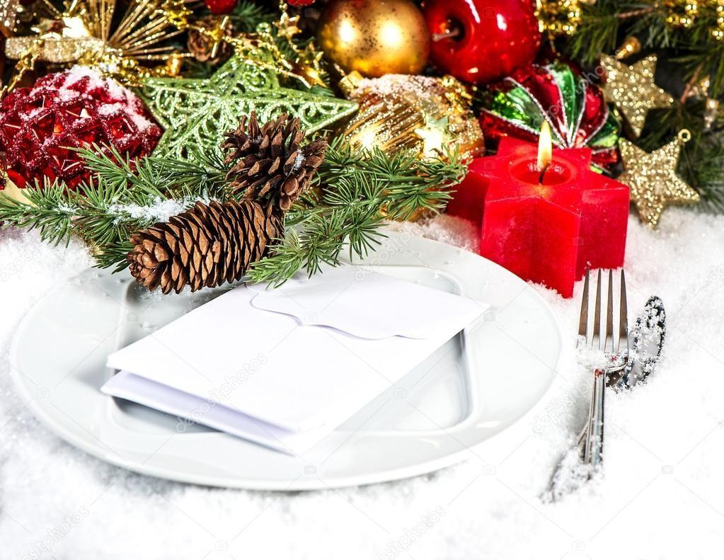 Festive Christmas Table Place Setting Red Gold