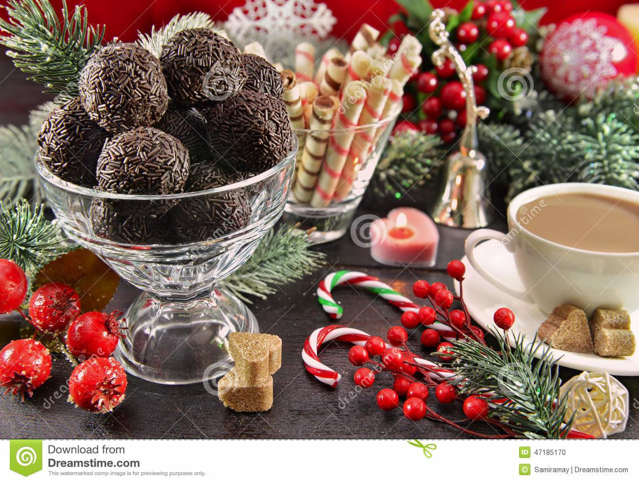 Festive Christmas Table Sweet Dessert Stock