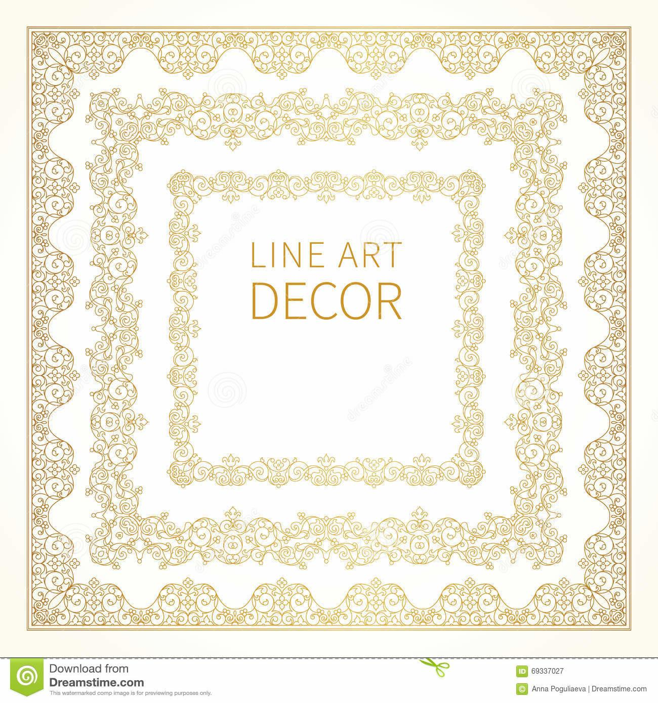 Filigree Line Art Vector Frames Eastern Style