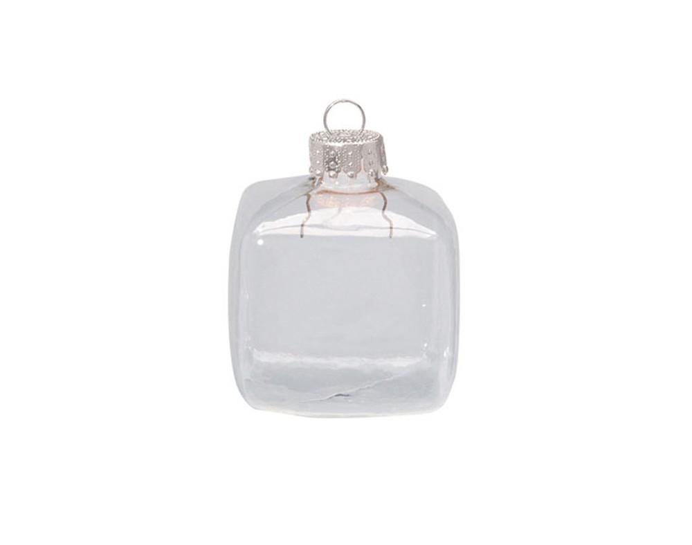 Fillable Cube 45mm Clear Glass Ball Christmas Bauble