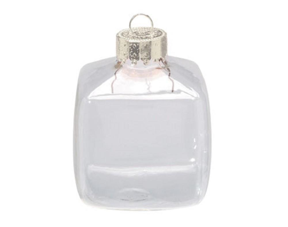 Fillable Cube 60mm Clear Glass Ball Christmas Bauble