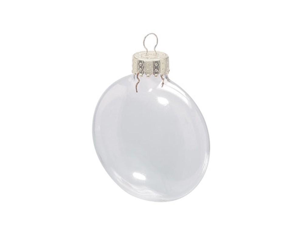 Fillable Flat 80mm Clear Glass Ball Christmas Bauble