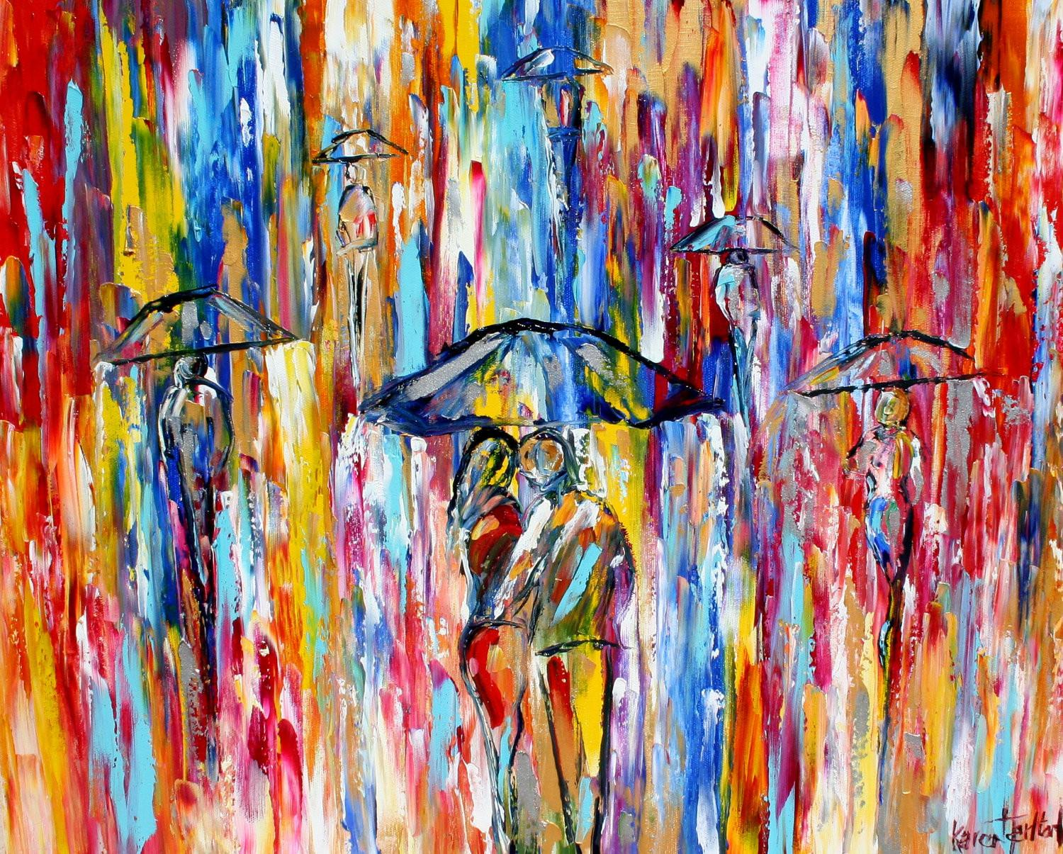 Fine Art Print Abstract City Rain Oil Painting